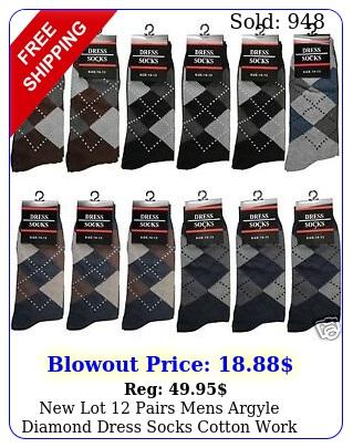 lot pairs mens argyle diamond dress socks cotton work casual size