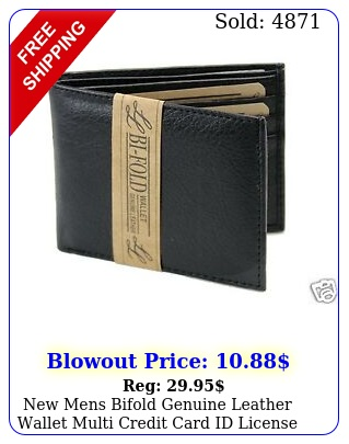 mens bifold genuine leather wallet multi credit card id license slim blac
