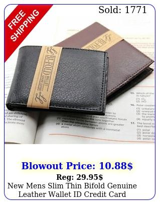 mens slim thin bifold genuine leather wallet id credit card billfold holde