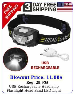 usb rechargeable headlamp flashlight head band led light waterproof outdoor lam