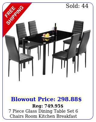 piece glass dining table set chairs room kitchen breakfast furniture u