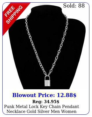 punk metal lock key chain pendant necklace gold silver men women unise