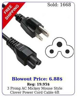 prong ac mickey mouse style clover power cord cable f