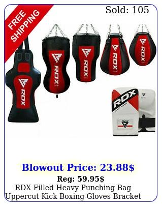 rdx filled heavy punching bag uppercut kick boxing gloves bracket chain trainin