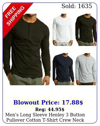 men's long sleeve henley button pullover cotton tshirt crew nec