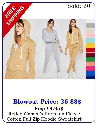 reflex women's premium fleece cotton full zip hoodie sweatshirt casual soli