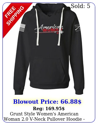 grunt style women's american woman vneck pullover hoodie blac