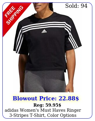adidas women's must haves ringer stripes tshirt color option