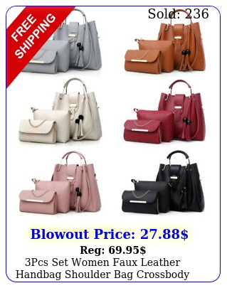 pcs set women faux leather handbag shoulder bag crossbody tote messenger purs