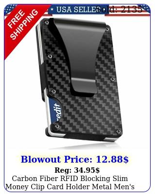 carbon fiber rfid blocking slim money clip card holder metal men's wallet gif