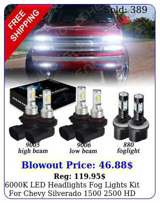 k led headlights  fog lights kit chevy silverado  h