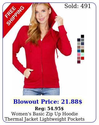 women's basic zip up hoodie thermal jacket lightweight pockets drawstring