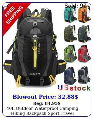 l outdoor waterproof camping hiking backpack sport travel trekking rucksack u