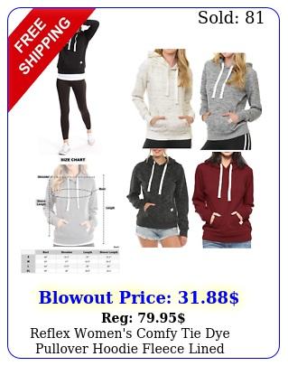 reflex women's comfy tie dye pullover hoodie fleece lined sweatshir