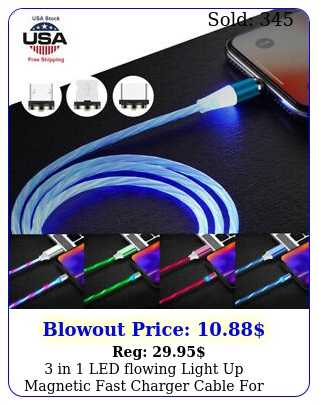 in led flowing light up magnetic fast charger cable typec iphone mus