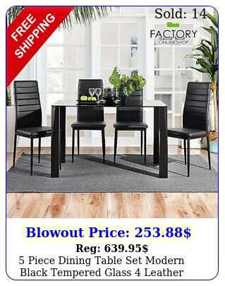 piece dining table set modern black tempered glass leather chairs kitche