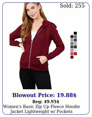 women's basic zip up fleece hoodie jacket lightweight w pocket