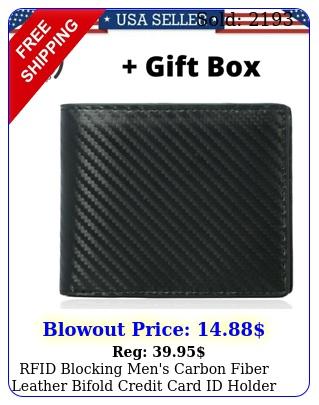 rfid blocking men's carbon fiber leather bifold credit card id holder wallet u
