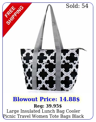 large insulated lunch bag cooler picnic travel women tote bags black quatrefoi