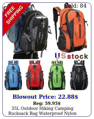 l outdoor hiking camping rucksack bag waterproof nylon travel sports backpac