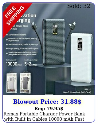 remax portable charger power bank with built in cables mah fast chargin