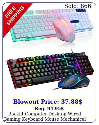 backlit computer desktop wired gaming keyboard  mouse mechanical feel led ligh