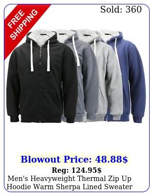 men's heavyweight thermal zip up hoodie warm sherpa lined sweater jacke