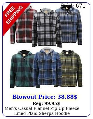men's casual flannel zip up fleece lined plaid sherpa hoodie lightweight jacke