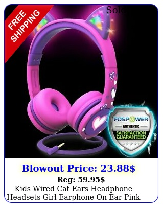 kids wired cat ears headphone headsets girl earphone on ear pink volume contro