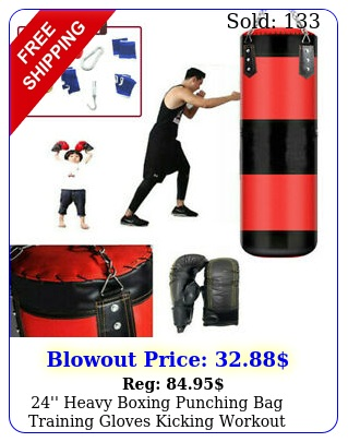 '' heavy boxing punching bag training gloves kicking workout gym set empt