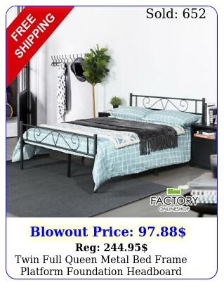 twin full queen metal bed frame platform foundation headboard footboard bedroo