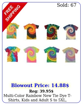 multicolor rainbow tie dye tshirts kids adult s to xl cotto