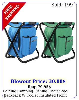 folding camping fishing chair stool backpack w cooler insulated picnic beach ba