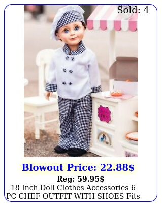 inch doll clothes accessories pc chef outfit with shoes fits american gir