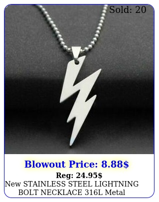 stainless steel lightning bolt necklace l metal pendant ball chai
