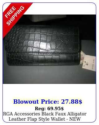rga accessories black faux alligator leather flap style wallet with tag