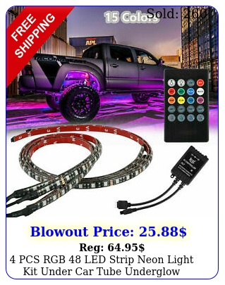 pcs rgb led strip neon light kit under car tube underglow underbody syste