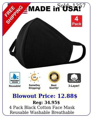 pack black cotton face mask reusable washable breathable coverings unisex us