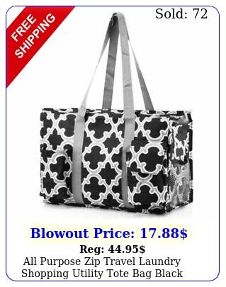 all purpose zip travel laundry shopping utility tote bag black quatrefoi