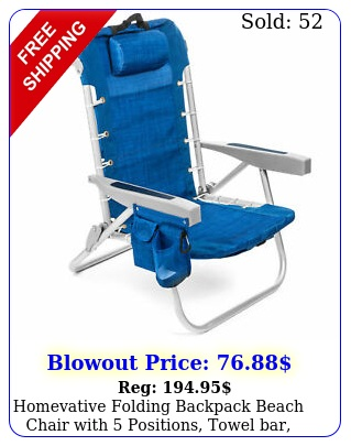 homevative folding backpack beach chair with positions towel bar blu