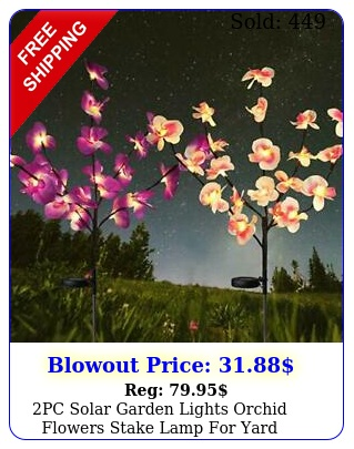 pc solar garden lights orchid flowers stake lamp yard outdoor patio deco