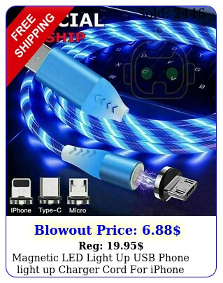magnetic led light up usb phone light up charger cord iphone type c micro u
