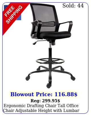 ergonomic drafting chair tall office chair adjustable height with lumbar suppor