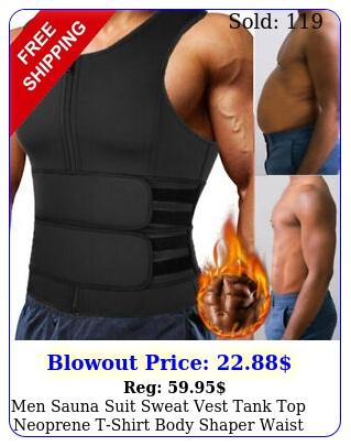 men sauna suit sweat vest tank top neoprene tshirt body shaper waist trainer u