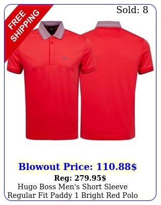 hugo boss men's short sleeve regular fit paddy bright red polo shirt s