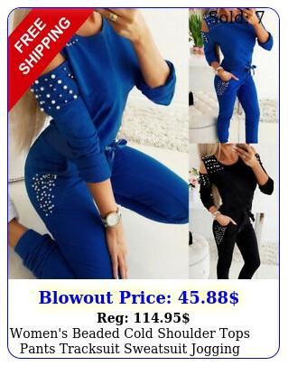 women's beaded cold shoulder tops pants tracksuit sweatsuit jogging outfit se