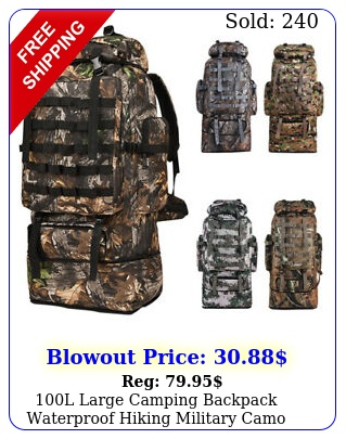l large camping backpack waterproof hiking military camo travel tactical ba