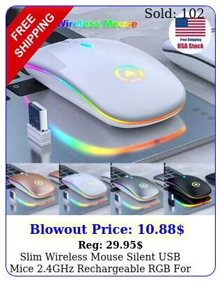 slim wireless mouse silent usb mice ghz rechargeable rgb pc laptop us