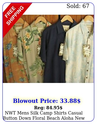 nwt mens silk camp shirts casual button down floral beach aloha m l xl xx