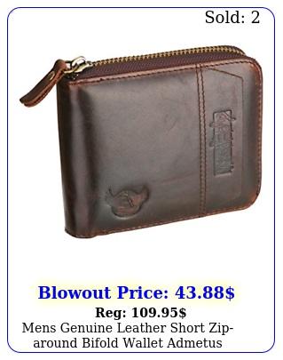 mens genuine leather short ziparound bifold wallet admetus accessories brow